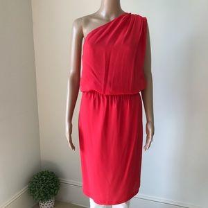 FENDI One Shoulder Silk Woven Fabric Red Dress